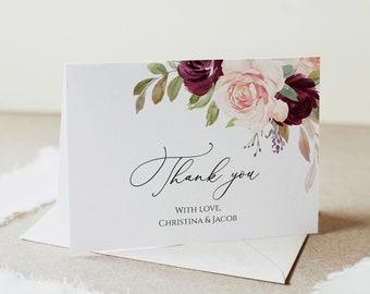 Bohemian Thank You Card, Fully Editable, Folded Thank You Note, Printable Thank You Card, Editable Thank You, Floral Thank You, Templett C29