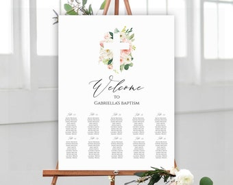 Ombre Find Your Seat First Holy Communion Editable pdf Baptism Seating Chart Printable Welcome Sign Christening INSTANT DOWNLOAD