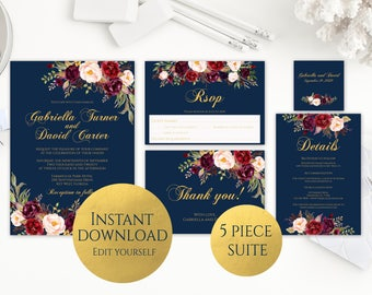 Navy wedding invites etsy navy and gold wedding invitation template invitation suite template printable wedding invitation editable wedding invite 5 piece set c5 solutioingenieria Image collections