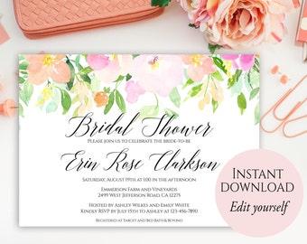 spring bridal shower invitation editable template bridal shower invitation bridal shower invites pastel bridal shower invite diy invite