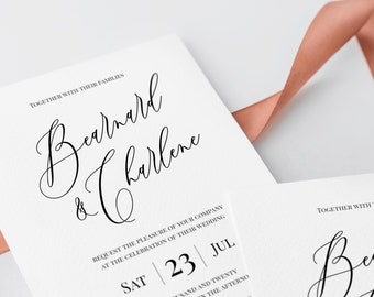 calligraphy wedding invitation template etsy
