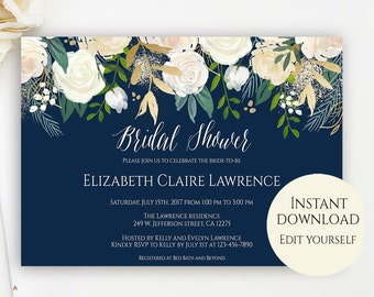 Bridal shower invite etsy bridal shower invitation template editable template bridal shower invitation editable pdf pdf template navy bridal shower invite diy solutioingenieria Image collections