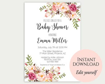 Baby shower template etsy baby shower invitation template baby shower invite baby shower printable floral baby shower editable pdf diy baby shower template c1 filmwisefo