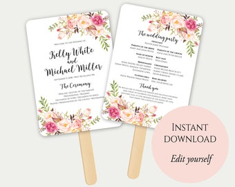 Program Template Etsy - Editable wedding program templates