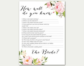 image about How Well Do You Know the Bride Free Printable titled How Effectively Do Your self Recognize The Bride Editable Activity PDF Template Etsy