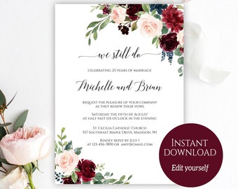 Vow renewal etsy vow renewal invitation template we still do invitation wedding anniversary we still do invites editable template pdf download c6 solutioingenieria Image collections