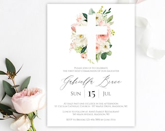 First Communion Invitation Template Instant Download Printable Holy Girl Editable Templett C9
