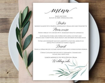 wedding menu template 5x7 4x9 wedding menu cards menu etsy. Black Bedroom Furniture Sets. Home Design Ideas