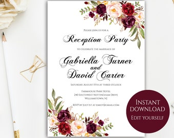reception party invitation template 100 editable text etsy