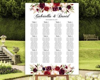 Wedding Seating Chart Template, Marsala Wedding Seating Chart, Seating Chart Poster, Floral Seating Chart, Seating Plan, Editable Template