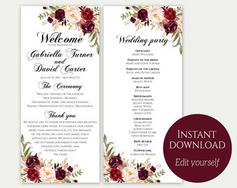 Wedding Program Template, Ceremony Template, Wedding Program Printable, Order Of Ceremony, Editable Wedding Program, Download PDF, Marsala