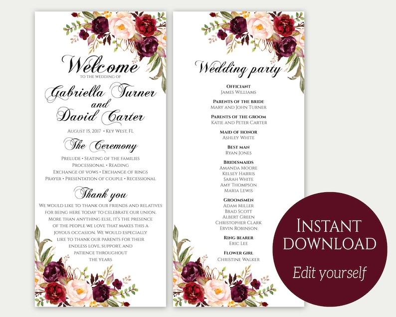 Wedding Program Template Ceremony Template Wedding Program image 1