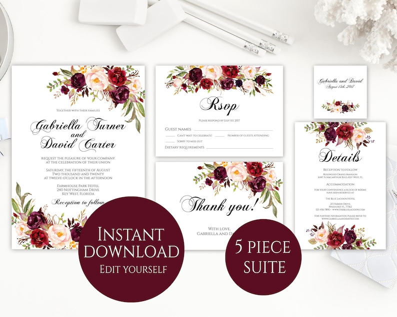 Wedding Invitation Template Invitation Suite Template image 0