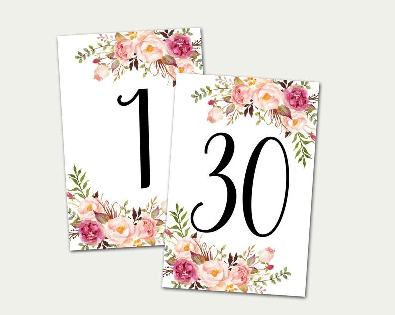 Wedding Table Numbers Printable Table Numbers Numbers 1-30 image 0