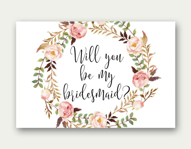graphic relating to Will You Be My Bridesmaid Printable referred to as Bridesmaid Printable, Will On your own Be My Bridesmaid, Bridesmaid Proposal, Watercolor Rose Wedding ceremony, Bridesmaid Invitation, Do-it-yourself Marriage