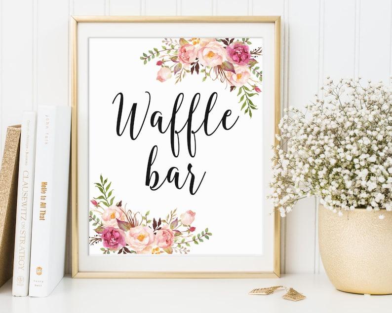 Waffle Bar Sign Waffle Bar Decor Wedding Sign Bridal Shower image 0