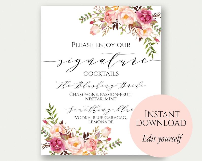 Signature Cocktail Sign Signature Drink Wedding Signature image 0