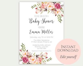 Baby Shower Invitation Template, Baby Shower Invite, Baby Shower Printable, Floral Baby Shower, Editable PDF, DIY Baby Shower, Template, C1