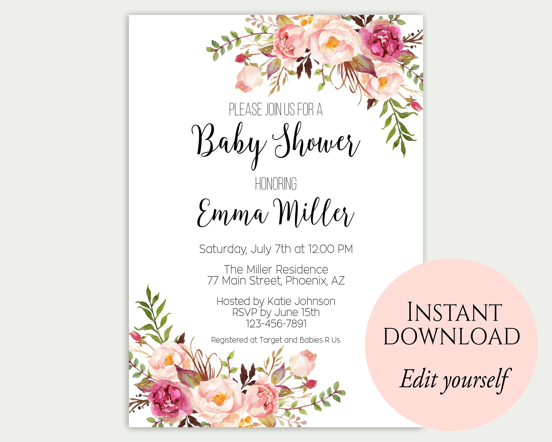 Baby Shower Invitation Template Baby Shower Invite Baby Etsy