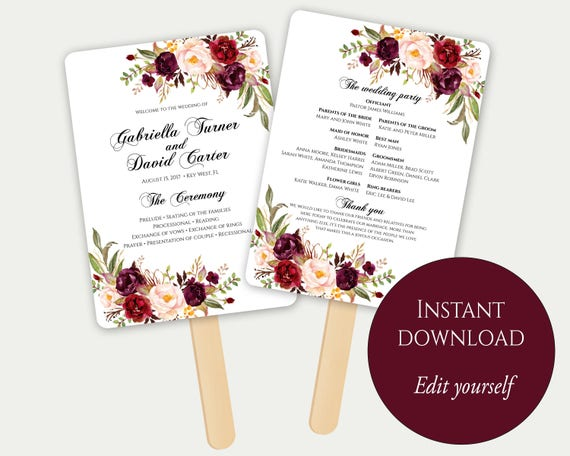 fan program template fan wedding program ceremony program etsy