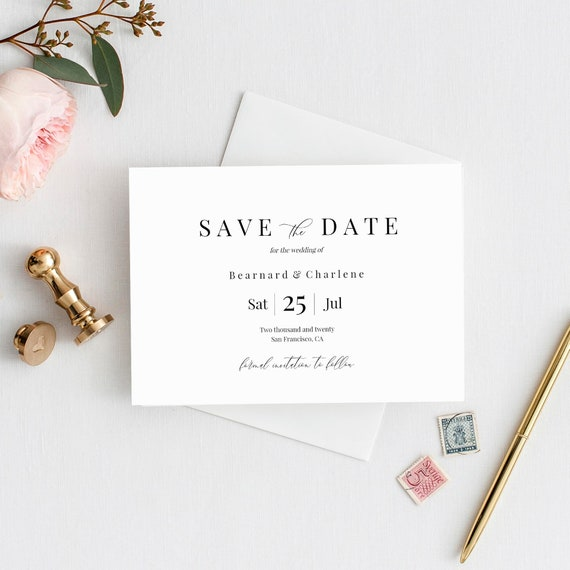 Save The Date Template Landscape Fully Editable Printable Etsy