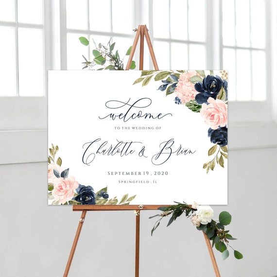 Boho Wedding Welcome Sign Template Landscape Welcome Poster Editable Printable Welcome Sign Navy And Blush Instant Download Templett C24