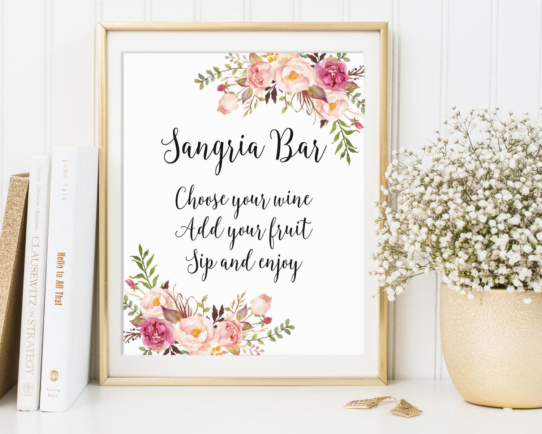 Sangria Bar Sign Bridal Shower Sign Wedding Drink Sign Bar
