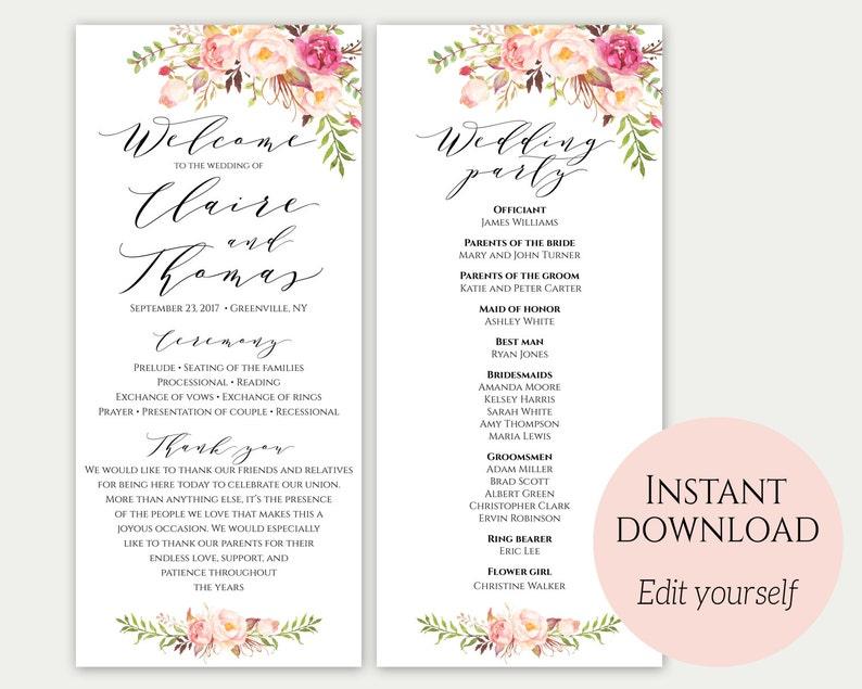 Wedding Program Template Ceremony Printable Template Wedding image 0