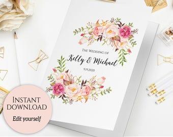 Folded Wedding Program Template, Folded Ceremony Template, Printable Wedding Program, Order Of Ceremony, Editable Wedding Program, C1