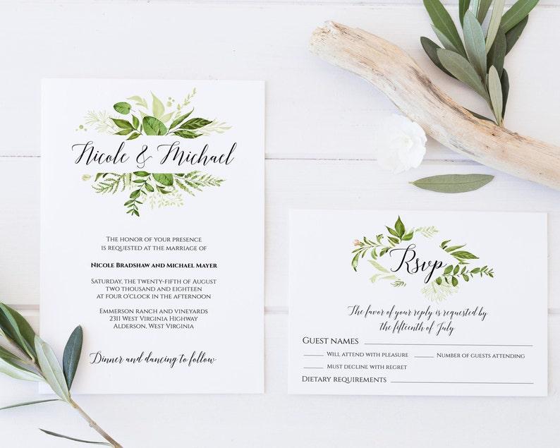Greenery Wedding Invitation Template Suite Spring Set C8
