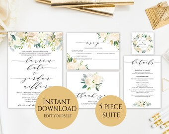 Wedding Invitation Template, Invitation Set, Gold Floral Wedding Invitation, Editable Wedding Invite, Instant Download, Printable, PDF, C3