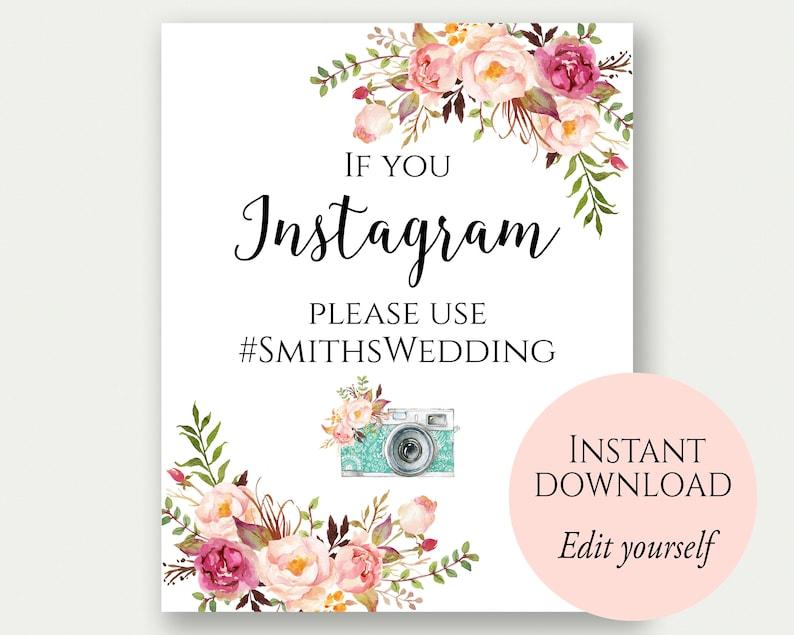 Instagram Wedding Sign If You Instagram Sign Instagram Sign image 0