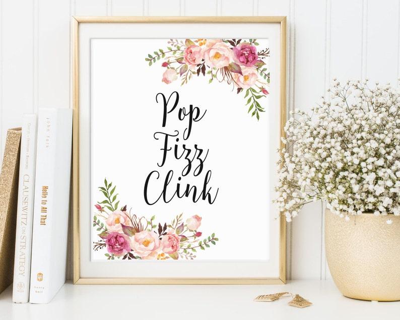 Pop Fizz Clink Sign Champagne Bar Sign Bridal Shower Bar image 0