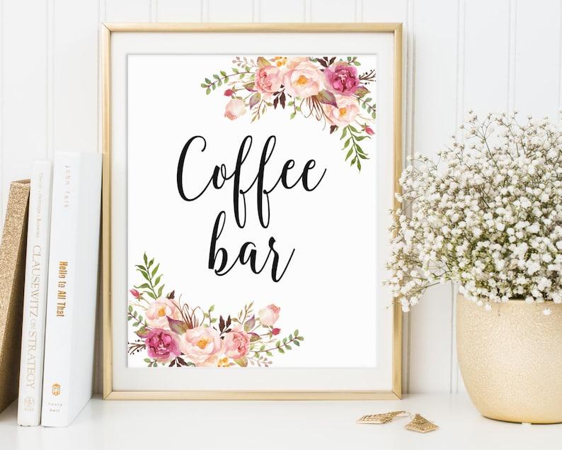 Coffee Bar Sign Coffee Bar Decor Wedding Sign Bridal Shower image 0