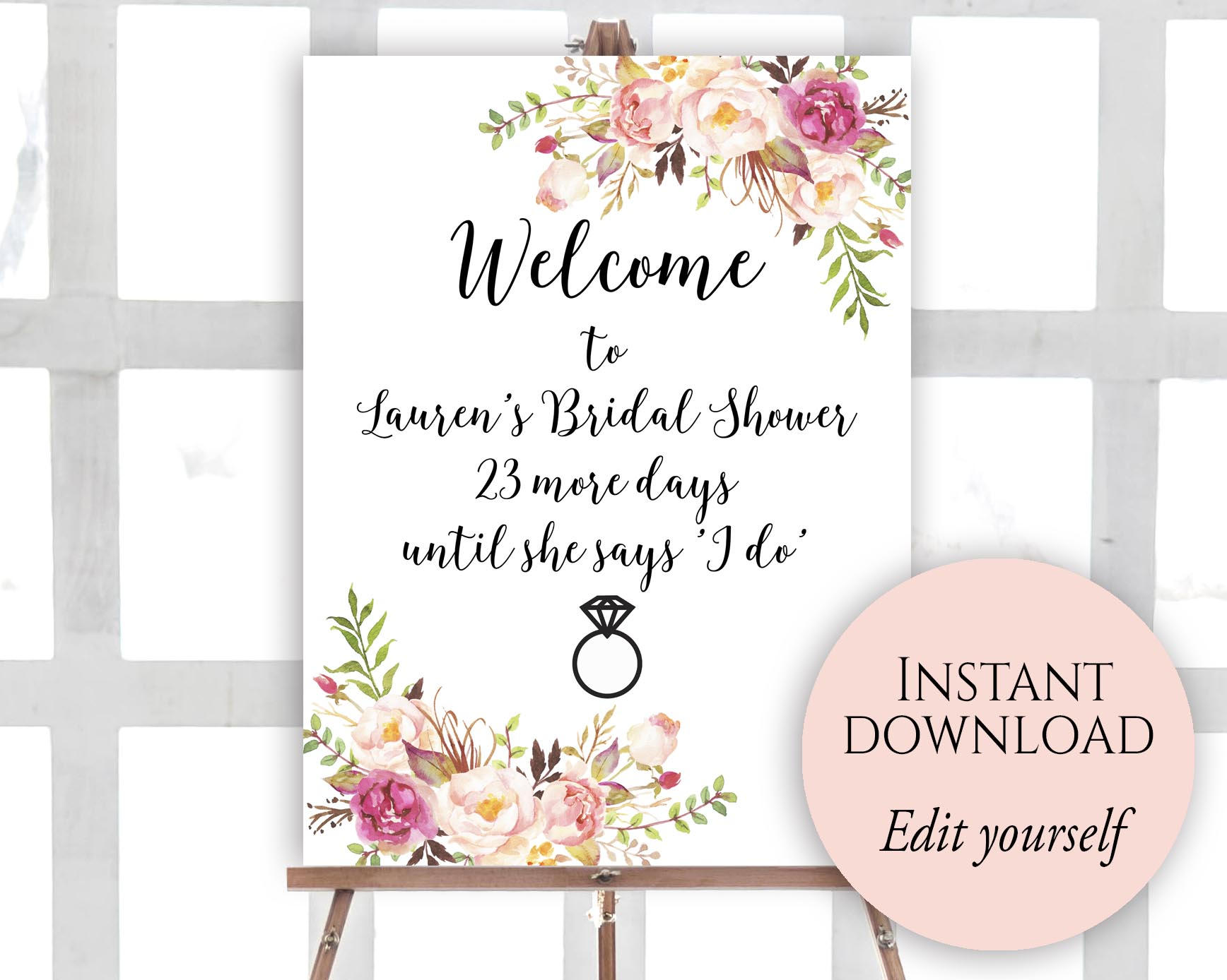Welcome Sign Template Welcome Bridal Shower Sign Bridal | Etsy