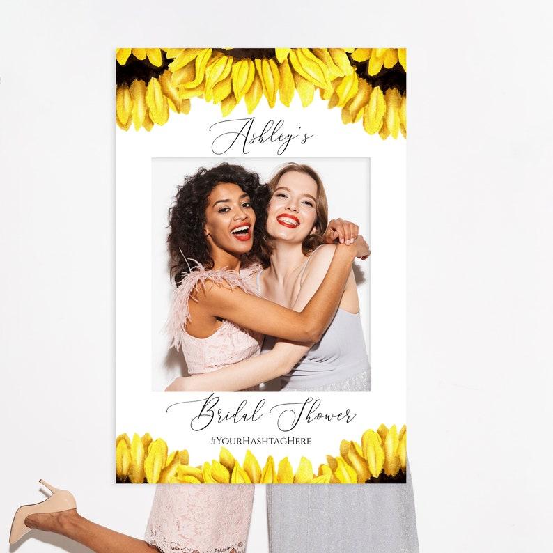 Editable Frame Photo Booth Frame Templett C32 Printable Sunflower Photo Frame Prop Instant Download Sunflower Bridal Shower Photo Prop