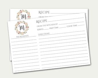 Personalized Recipe Card, Monogram Recipe Card, Initial Recipe Card, Custom Recipe Card, Bridal Shower Recipe Card, Recipe Card Printable