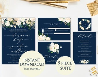 Navy Wedding Invitation Template, Invitation Suite Template, Navy Floral Wedding Invitation, Editable PDF, Instant Download, Printable PDF