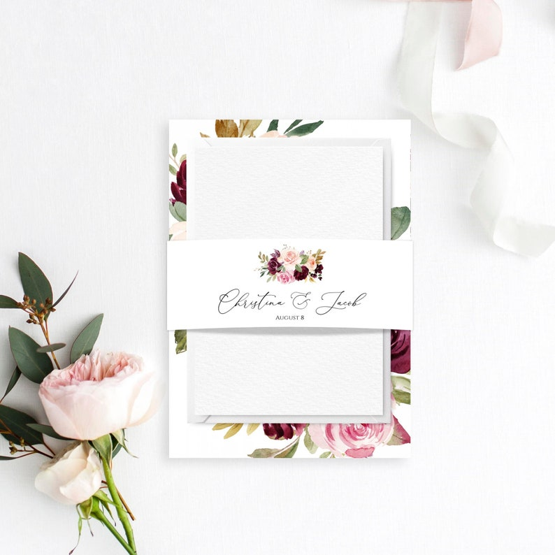 C29 Blush Belly Band Printable Belly Bands Floral Belly Band For Invitations Wedding Belly Band Template Templett Editable Belly Band