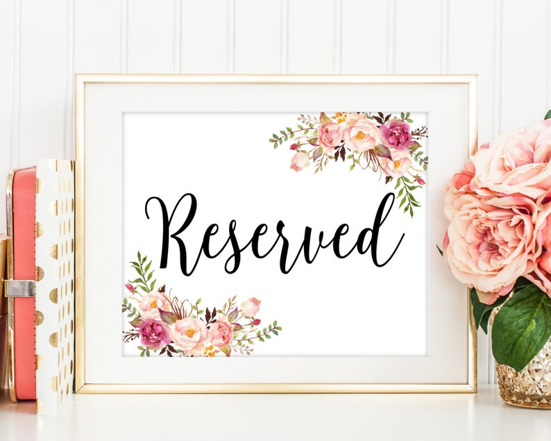 Reserved Sign Reserved Signs Wedding Reserved Table Sign image 0