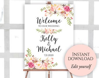 Welcome To Our Wedding, Editable PDF, Welcome Wedding Sign, Printable Welcome Sign, Wedding Welcome Sign, Instant Download, Fall Wedding, C1