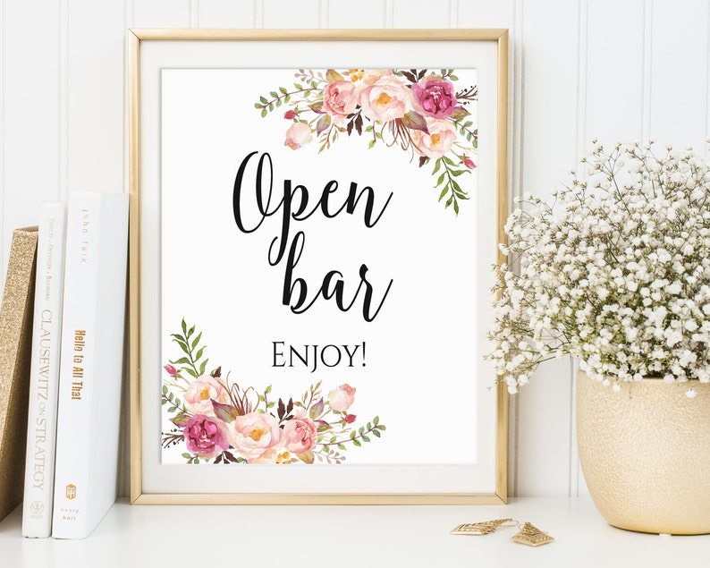 Open Bar Sign Open Bar Wedding Sign Party Signs Wedding image 0