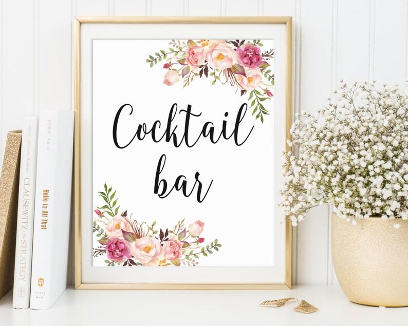 Cocktail Bar Sign Cocktail Bar Decor Wedding Sign Bridal image 0