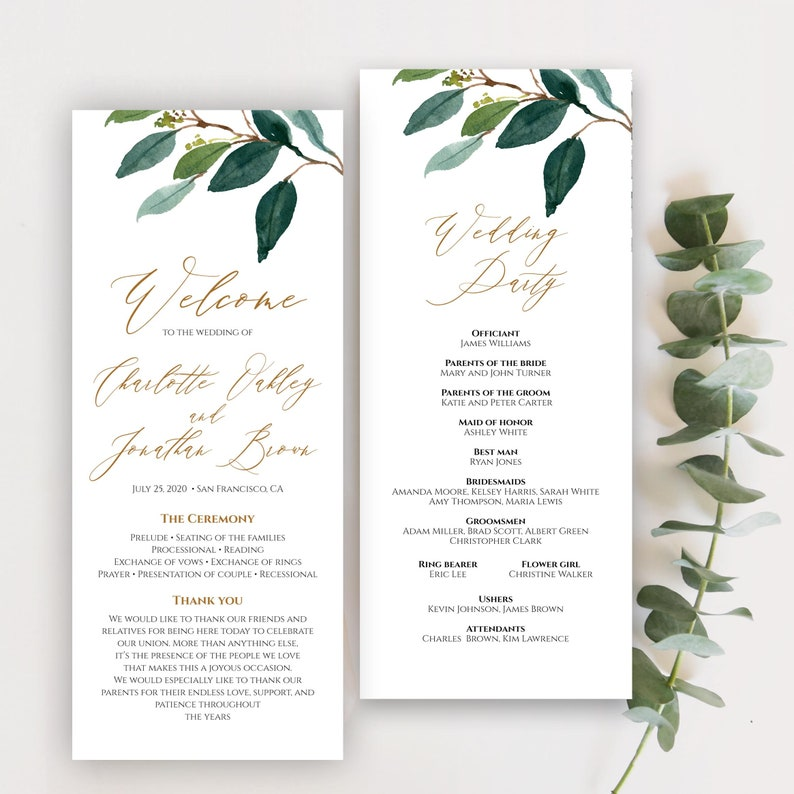 Fully Editable C2 Two Sided Ceremony Template Order Of Ceremony Foliage Editable Wedding Program Template Printable Wedding Program