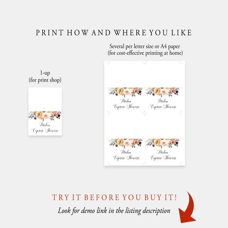 Instant Download 100/% Editable Buffet Card Template Templett Bohemian Food Card Printable Food Label Wedding Buffet Tent Card C45
