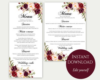 Wedding Menu Template, Wedding Menu Cards, Menu Cards, Editable Menu, Menu Card Template, Marsala Menu, Party Menu, Instant Download, Menu