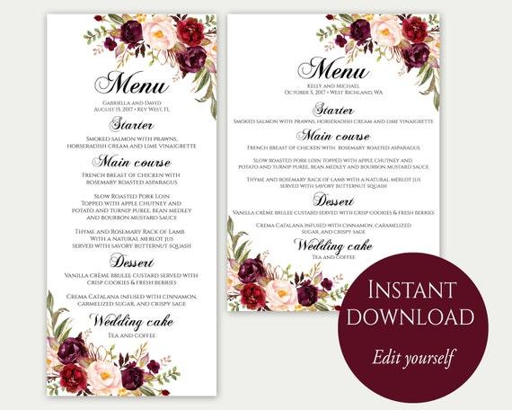 Wedding Menu Template Cards