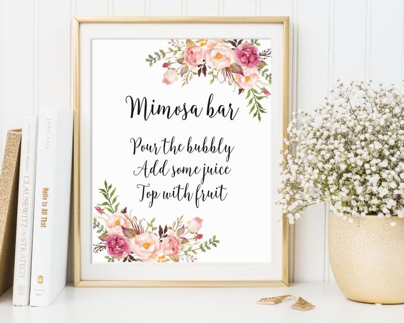 Mimosa Bar Sign Bridal Shower Sign Wedding Sign Bubbly Bar image 0