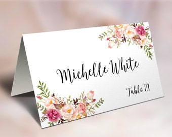 Wedding Place Cards, Place Card Template, Editable, Reserved Seating Cards, Folded Name Card, Floral Place Cards, Tent Cards, Food Cards, C1