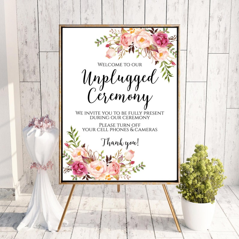 Unplugged Ceremony Sign Unplugged Wedding Sign Unplugged image 0